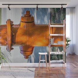 Back of Orange Mueller Super Centurion Fire Hydrant Colorful Fire Plug Wall Mural