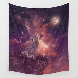 wolf and sky Wall Tapestry