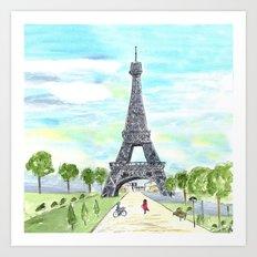 Paris City Sketch Art Print
