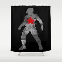 winter soldier Shower Curtains featuring Winter Soldier (Bucky Barnes) by MajesticSeahawk Designs