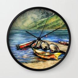 Boats On Lake McDonald Watercolor Wall Clock