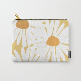 White Daisies with yellow background Carry-All Pouch