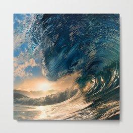 Beach - Waves - Ocean - Sun - Clouds - Blues - Sundown Metal Print