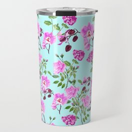 pink purple flowers watercolor painting Travel Mug