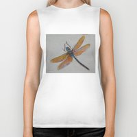 dragonfly Biker Tanks featuring Dragonfly by Michael Creese