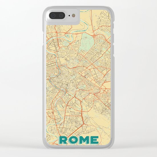 Rome Map Retro Clear iPhone Case
