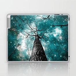 Wintry Trees Galaxy Skies Teal Laptop & iPad Skin