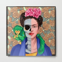 Frida Skull Metal Print