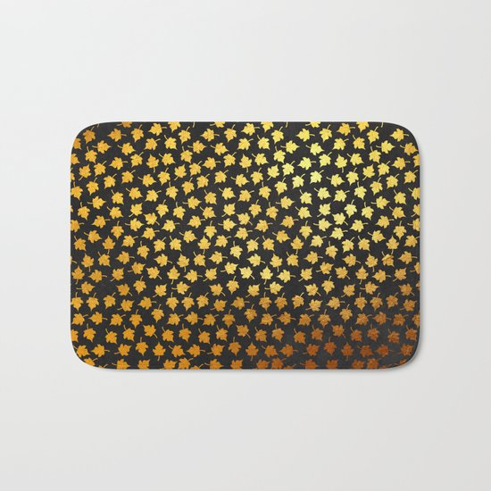 AUTUMN - small gold leaves on chalkboard background Bath Mat