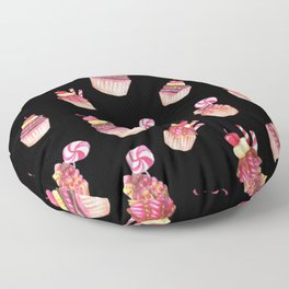 Cupcakes Pattern Cute Sweet Tooth Pink Colorful Black Background Floor Pillow