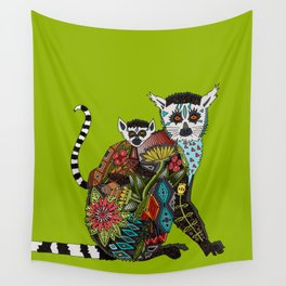 ring tailed lemur love lime Wall Tapestry