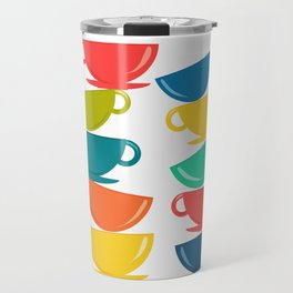 A Teetering Tower Of Colorful Tea Cups Travel Mug