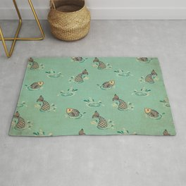 Jumping Fish on Aqua - Kitschy Fish in Mid Century Style Rug