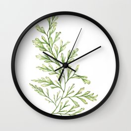 Fern Leaf Watercolor Painting Wall Clock