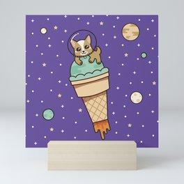 Kawaii Corgi Dog on an Ice Cream Rocket in Space Mini Art Print
