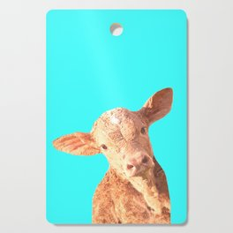 Baby Cow Turquoise Background Cutting Board