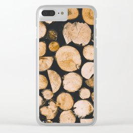 Stacked Wooden Lumber Logs Outdoors Clear iPhone Case