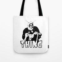 the thing Tote Bags featuring THING by Taylor Bissett