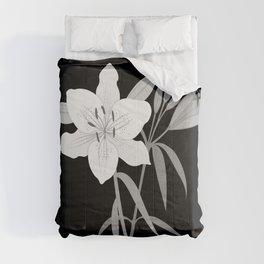 Monochrome Lilies Illustrative Art Comforters