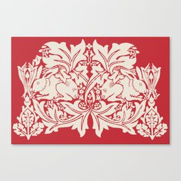 William Morris Style Victorian Christmas Bunnies Canvas Print