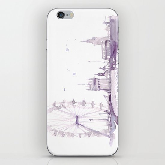 Watercolor landscape illustration_London Eye iPhone & iPod Skin