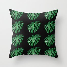 Split leaf Philodendron pattern on dark background Throw Pillow
