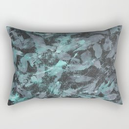 Green and White Ink on Black Background Rectangular Pillow