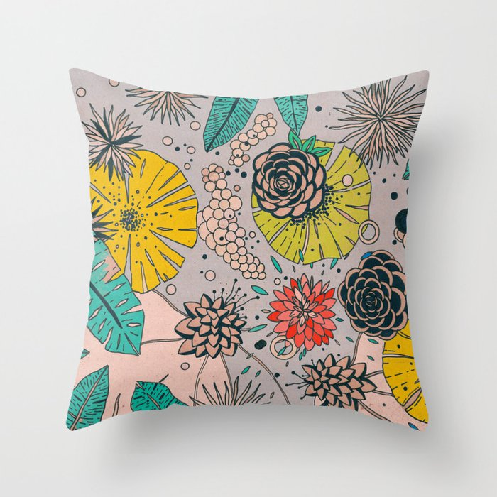 Olga loves flowers Throw Pillow