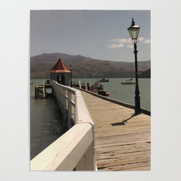 akaroa walkway into lake in french town in new zealand Poster