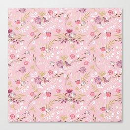 Vintage chic rose pink white red boho floral pattern Canvas Print