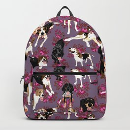 Coonhound pink floral pattern Backpack