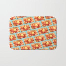 Waffle Pattern - Blue Bath Mat