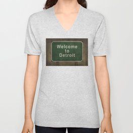 Welcome to Detroit highway road side sign Unisex V-Neck