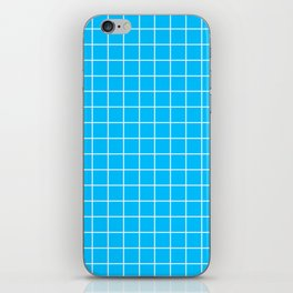 Capri - turquoise color - White Lines Grid Pattern iPhone Skin