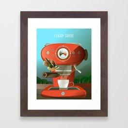 Hummingbird Enjoys Coffee Framed Art Print