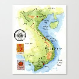 Vietnam Sketchbook Map Canvas Print