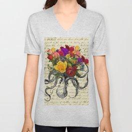 Octopus Attacking Flowers Unisex V-Neck