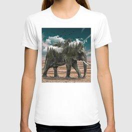 Surrealist elephant on a dry African landscape photo T-shirt