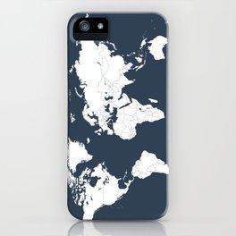 Minimalist World Map in Navy Blue iPhone Case