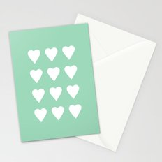 16 Hearts Mint Stationery Cards