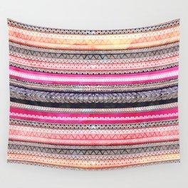 Bright pink orange watercolor handdrawn aztec pattern Wall Tapestry