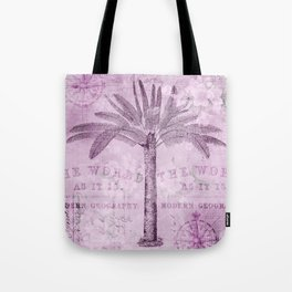 Pink Vintage Palm Tree And Travel Typography Art Tote Bag
