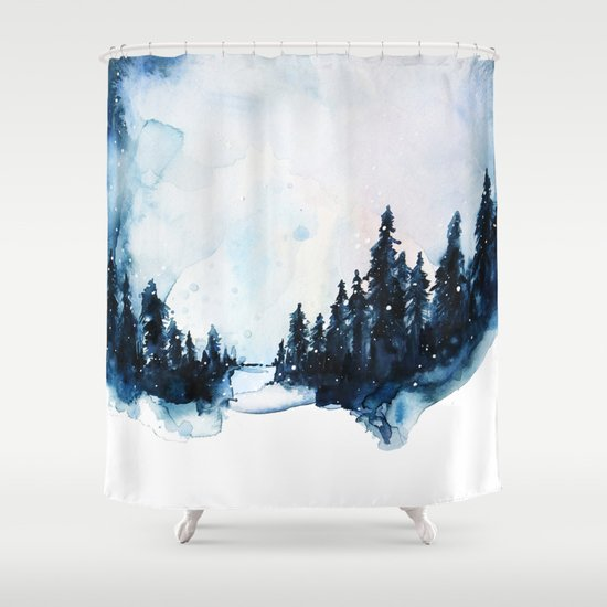 Winter Watercolor Shower Curtain
