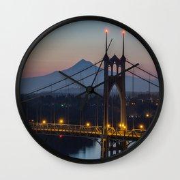 Mornings at St. Johns Bridge Wall Clock