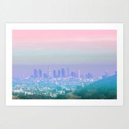 Los Angeles Scenic Southern California Landscape Colored Sun Haze Wall Art Print Art Print