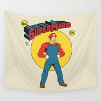 super mario Wall Tapestries featuring Super Mario Comic by Akiwa