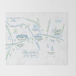 Skaneateles, New York Illustrated Calligraphy Print Throw Blanket