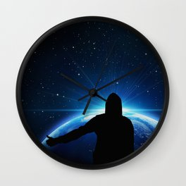 Space hitchhiking Wall Clock