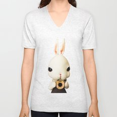 Mr Bunny loves donut Unisex V-Neck