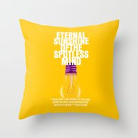 eternal sunshine of the spotless mind Throw Pillows featuring Eternal Sunshine Of The Spotless Mind Movie Poster by FunnyFaceArt